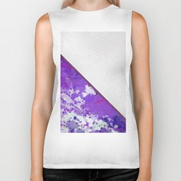 Abstract violet lilac white watercolor paint splatters Biker Tank