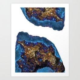 Agate metallic blue & gold Art Print