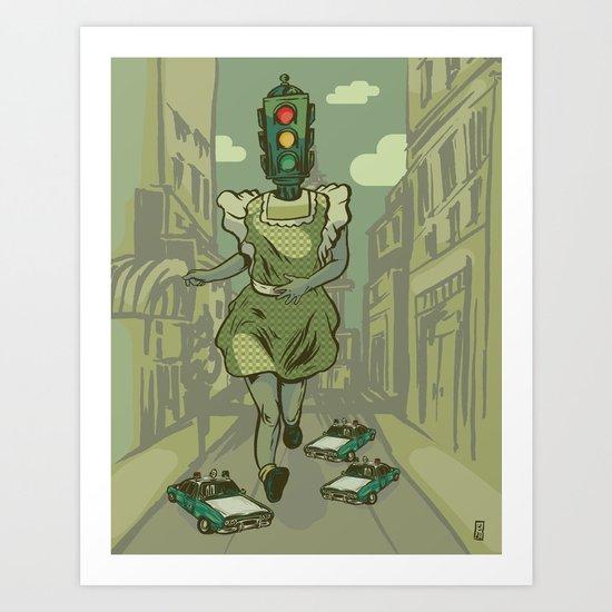 Red Light, Yellow Light, Green Light, GO! Art Print