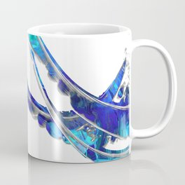 Blue And White Modern Painting - Wave 2 - Sharon Cummings Coffee Mug