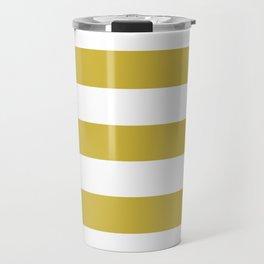 Old gold - solid color - white stripes pattern Travel Mug