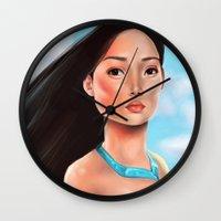 pocahontas Wall Clocks featuring Pocahontas by Sam Pea