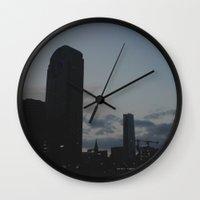 dallas Wall Clocks featuring Dallas Nightline by Kaartik Gupta