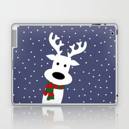Reindeer in a snowy day (blue) Laptop & iPad Skin