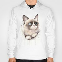 grumpy Hoodies featuring Grumpy Watercolor Cat by Olechka