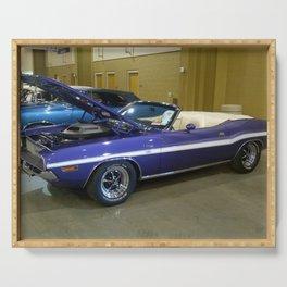 1970 Plum Crazy Purple 426 Hemi Challenger RT Convertible color photograph / photography  Serving Tray
