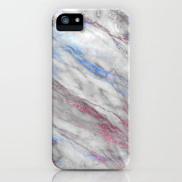 Elegant modern faux rose gold blue abstract marble iPhone Case