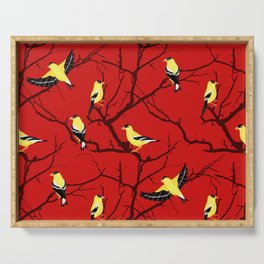 Goldfinches in the Branches Yellow and Red Serving Tray