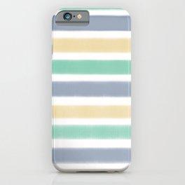 Biscay Green Faded Denim Sunlight Stripe Pattern iPhone Case
