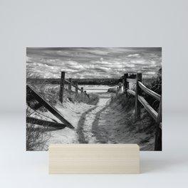 Beach Path (mono) Mini Art Print