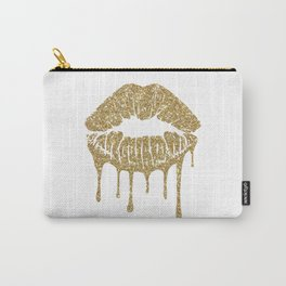 Lips, Gold lips, glitter, make up, makeup, vanity, Gold, mouth, kiss mark Carry-All Pouch