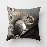 squirrel Throw Pillows featuring Squirrel by Mandy Becker