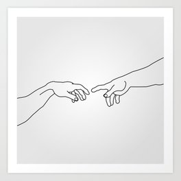 Hands showing the creation of Adam Art Print