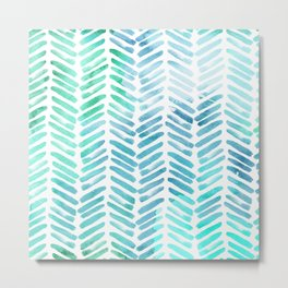 Handpainted Chevron pattern - light green and aqua - stripes Metal Print