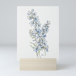 Blue Delphinium Flowers Mini Art Print