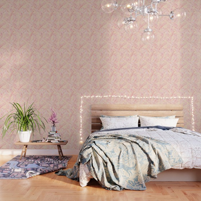 Tropical Dream Palm Leaves Pink and Coral Peach Wallpaper