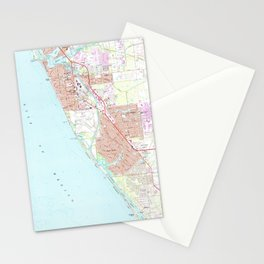 Venice Florida Map (1973) Stationery Cards