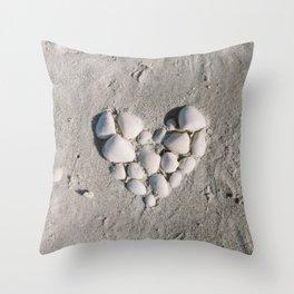 Seaside Seashell Love / Florida Fine Art Film Photography Throw Pillow
