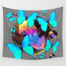 SURREAL NEON BLUE BUTTERFLIES  & SOAP BUBBLES GREY Wall Tapestry