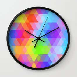 Abstract hipsters pattern with bright colored rhombus Wall Clock