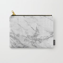 Elegant chic white gray silver glitter marble Carry-All Pouch