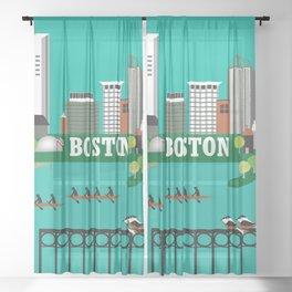 Boston, Massachusetts - Skyline Illustration by Loose Petals Sheer Curtain