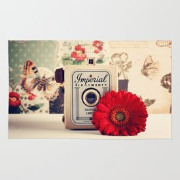 Retro Camera and Red Flower (Retro and Vintage Still Life Photography) Rug