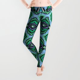 Ethnic blue green ornament 3 Leggings