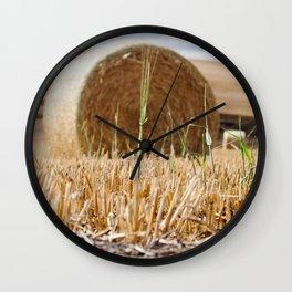 Wheat Bale Photography Print Wall Clock