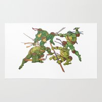 tmnt Area & Throw Rugs featuring TMNT by Brittany Ketcham