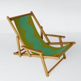 groovy minimalist pattern aqua waves on olive Sling Chair