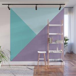 Geometric abstract teal aqua purple color block pattern Wall Mural