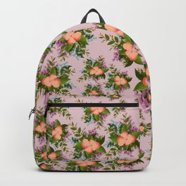 Watercolor Flowers on Mauve Background Backpack
