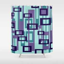 Geometric rectangles pattern violet Shower Curtain