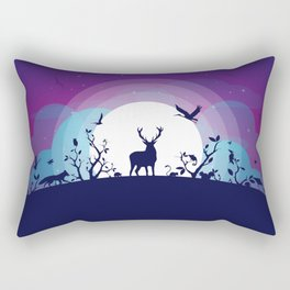 Forest Animals Gathering in the Moonlight Rectangular Pillow