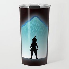 Girl samurai standing shadow of silhouette in rainy day at castle, paisley pattern on dark brown background. Travel Mug