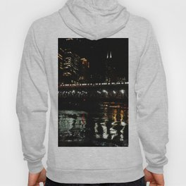 Chicago El and River at Night Hoody
