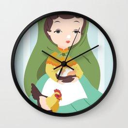 Porcelain Girl (brunette) Wall Clock
