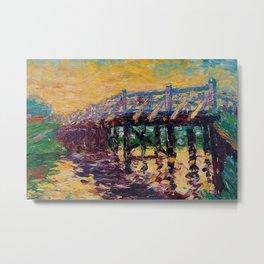 'Bridge by the Sea' coastal landscape painting by Emil Nolde Metal Print