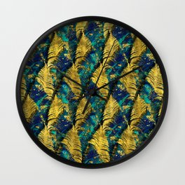 Abstract Gold and Marble Feather pattern Wall Clock