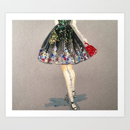 Colorful Skirt Fashion Illustration by Elaine Biss Art Print