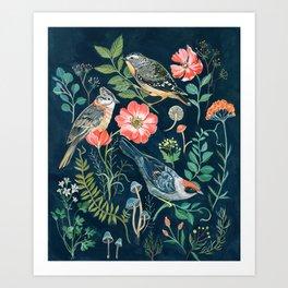 Birds Garden Art Print