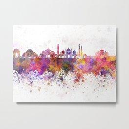 Delhi skyline in watercolor background Metal Print