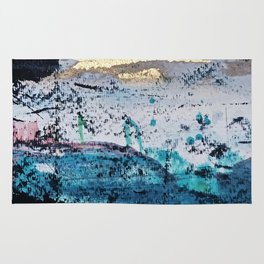 Twilight: a beautiful, abstract watercolor + mixed-media piece in blue, gold, purple, pink, + black Rug