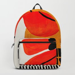 Mid Century Modern Abstract Colorful Art Yellow Ball Orange Shapes Orbit Black Pattern Backpack