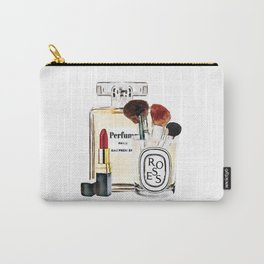 Watercolor Make up set, perfume bottle, red lipstick and brushes by Amanda Greenwood Carry-All Pouch