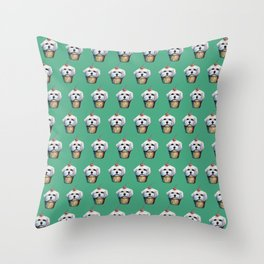 """Cherry on Pup"" Maltese Cake Pattern Green Throw Pillow"
