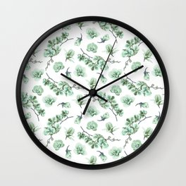 Pastel green watercolor modern orchid floral pattern Wall Clock