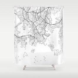 Helsinki Map White Shower Curtain