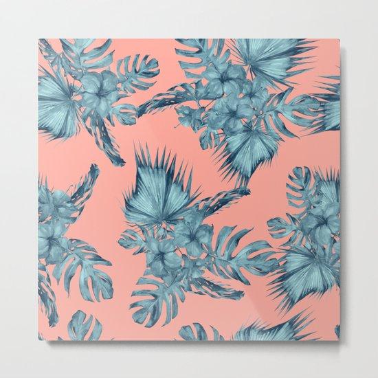 Dreaming of Hawaii Teal Blue on Coral Pink Metal Print